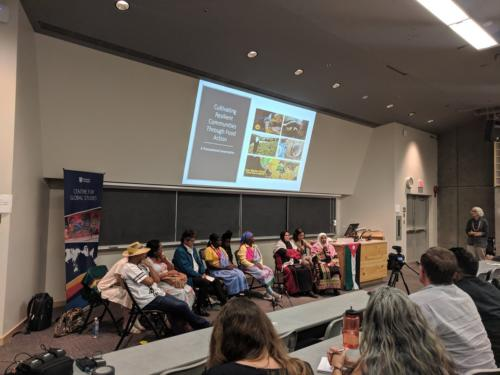 """Community participants in the """"Four Stories About Food Sovereignty"""" workshop in T'Sou-ke territory and at UVic."""