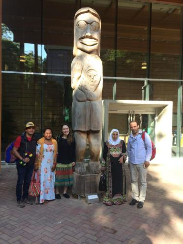 Participants at First Peoples House, UVic – Miguel Ramirez Boscan, Jakeline Romero Epiayu, Claudia Puerta Silva, Fatima Obeidat, Imad Alquran